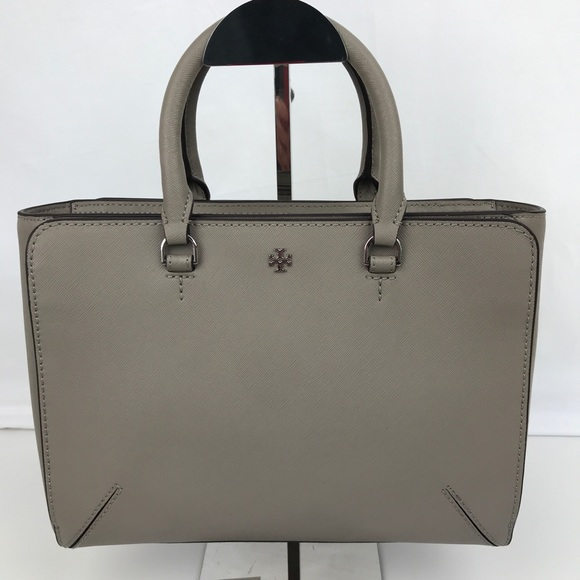 e236d5da4f1 Tory Burch Robinson Small Zip Gray Leather Tote